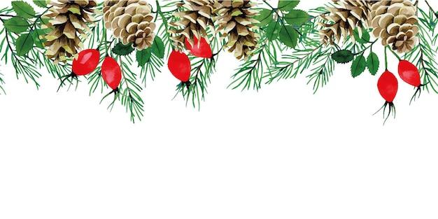 Акварельный рисунок бесшовные бордюрные рамки с рождественскими растениями еловые ветки еловые шишки