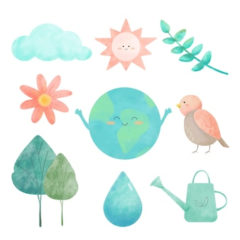 Watercolor drawing with icons for environmental set