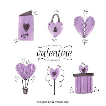Disegni ad acquerello di san valentino confezione