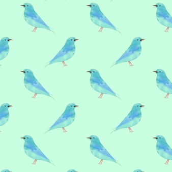 Watercolor drawn bird seamless pattern