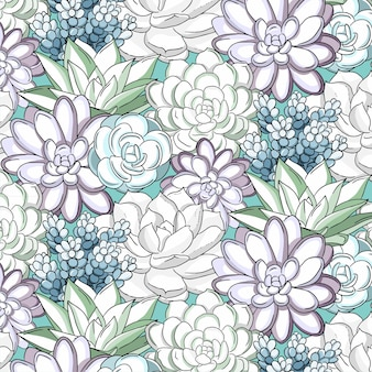 Watercolor drawn linear succulents pattern
