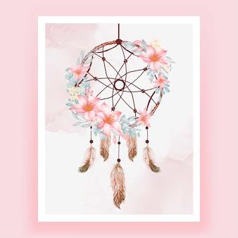 수채화 꿈 캐처 꽃 분홍색 복숭아 깃털
