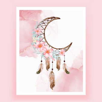 Acquerello dream catcher fiore rosa pesca piuma