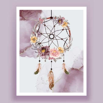 水彩ドリームキャッチャー花紫ピンクの羽