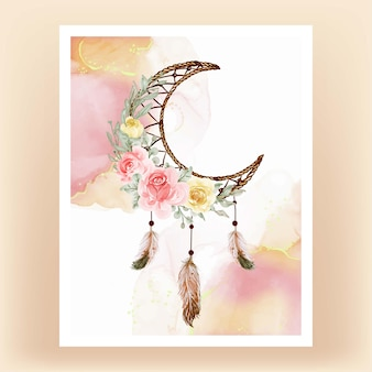 Watercolor dream catcher flower yellow peach feather
