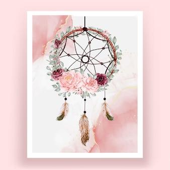 수채화 드림 캐처 장미 핑크와 부르고뉴 꽃 깃털