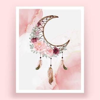 水彩ドリームキャッチャーローズピンクとバーガンディの花の花の羽