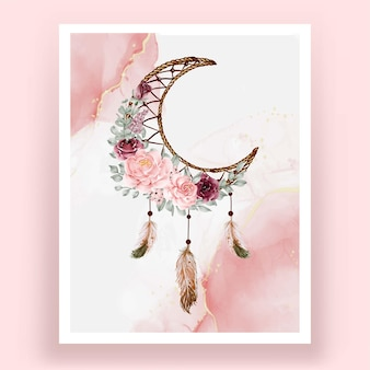 Watercolor dream catcher rose pink and burgundy flower flower feather