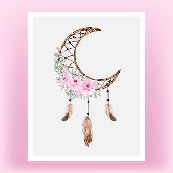 Watercolor dream catcher rose pink flower feathe