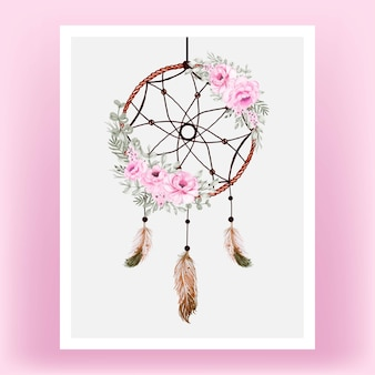 Watercolor dream catcher rose pink flower feather