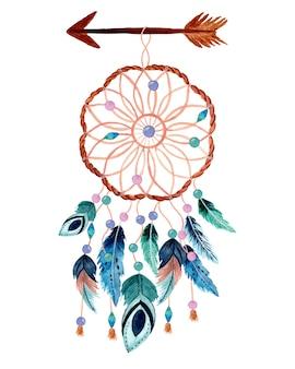 矢印と羽を持つ水彩ドリームキャッチャー