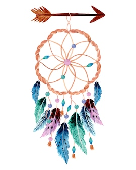 Watercolor dream catcher with arrow