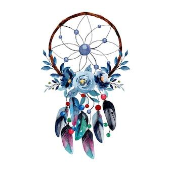 青い花と羽を持つ水彩ドリームキャッチャー