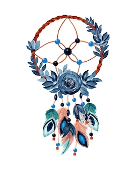 Watercolor dream catcher with blue flower