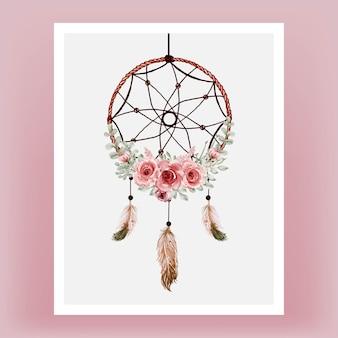 꽃 적갈색과 깃털 수채화 드림 캐처