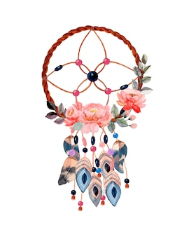 Watercolor dream catcher with flower
