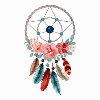 Watercolor dream catcher with flowers