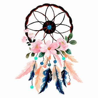 Watercolor dream catcher with pink flower