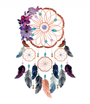 Watercolor dream catcher with purple flower watercolor