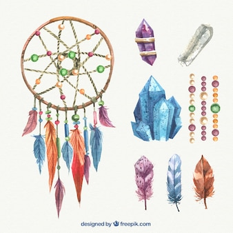 Watercolor dreamcatcher with gems