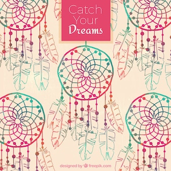 Watercolor dreamcatchers background