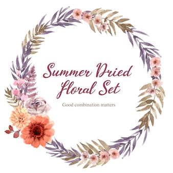 Watercolor dried floral wreath frame