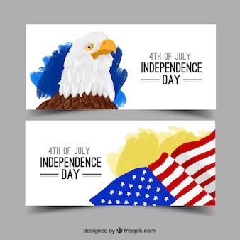 Watercolor eagle and usa flag banners