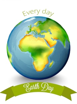 Watercolor earth day with africa continent in the center