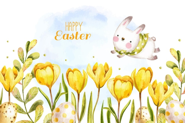 Watercolor easter background with cute bunny, eggs and crocuses