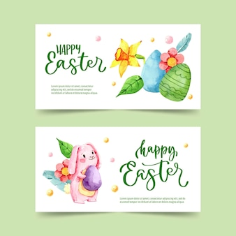 Watercolor easter banners collection