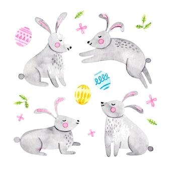 Коллекция акварельных пасхальных кроликов