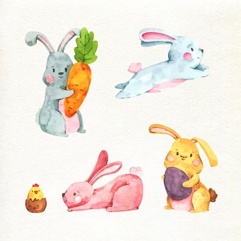Watercolor easter bunny collection