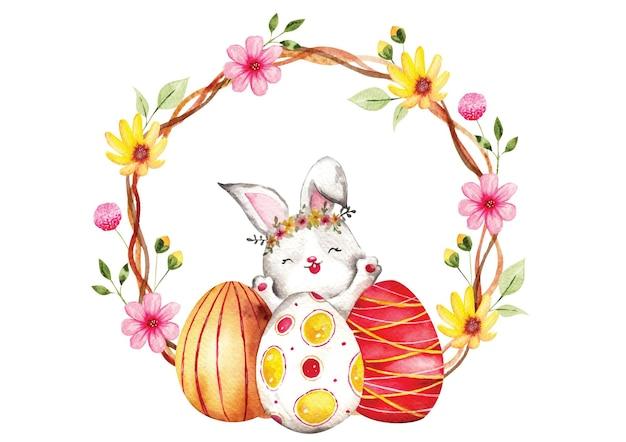 卵の花輪のない水彩画のイースターバニー