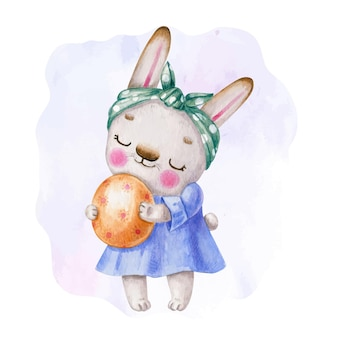 Watercolor easter bunny with egg