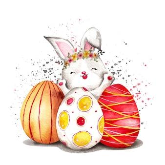 卵と水彩イースターバニー