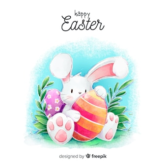 Watercolor easter day background