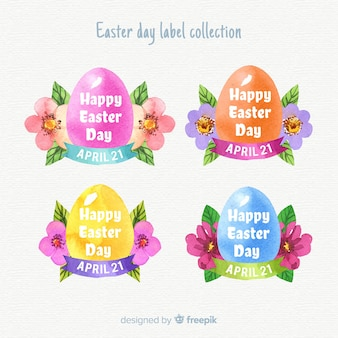 Watercolor easter day badge collection