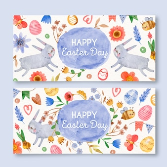 Watercolor easter day banner collection