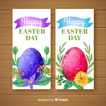 Watercolor easter day banners