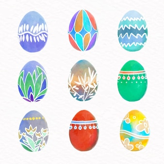 Watercolor easter day egg collection