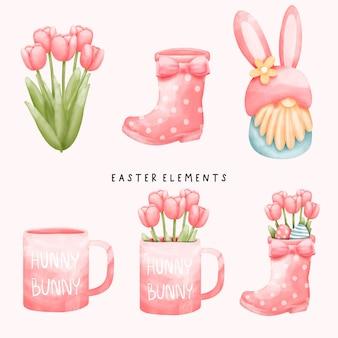 ノームのウサギと花、マグカップと水彩のイースターの日の要素