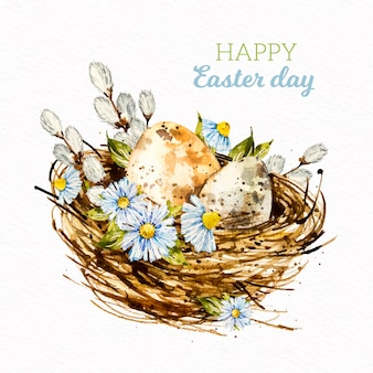 Watercolor easter day image with lettering