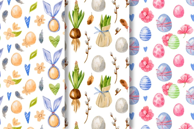 Watercolor easter day pattern collection theme