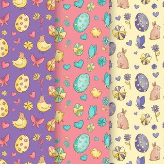 Watercolor easter day pattern collection