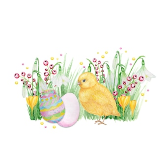 Watercolor easter decoration isolated on white background.