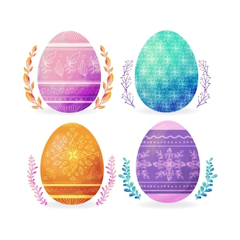 Watercolor easter egg collection