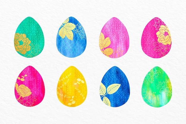 수채화 부활절 달걀 컬렉션