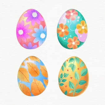 Watercolor easter eggs collection