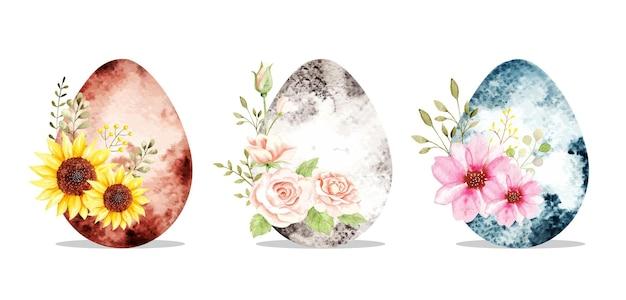 花と水彩のイースターエッグ Premiumベクター