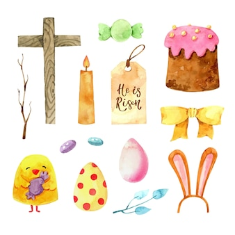 Watercolor easter element collection Free Vector